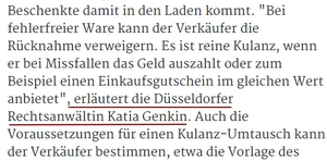 Anwalt Düsseldorf zu Vertragsrecht beim Umtausch